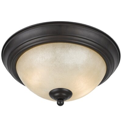 Crofoot 2-Light Flush Mount Finish: Bronze, Shade Color: Tea Stained, Size: 6