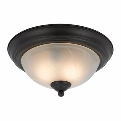 Crofoot 2-Light Flush Mount Finish: Bronze, Shade Color: White Swirl Alabaster, Size: 6 H x 14 W x 14 D