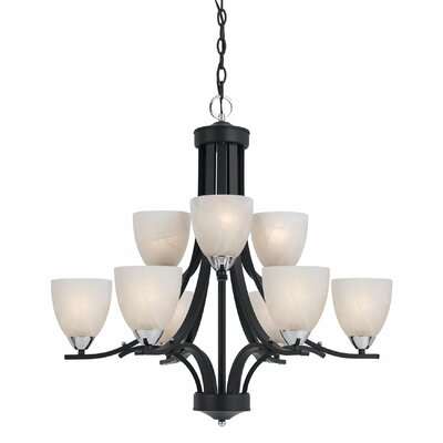 Finn 9-Light Shaded Chandelier Finish: Black with Chrome Accent