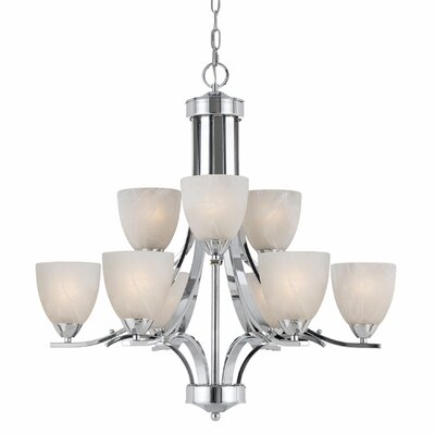 Crofoot 9-Light Shaded Chandelier Finish: Chrome Plated