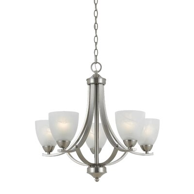 Crofoot 5-Light Shaded Chandelier Finish: Satin Nickel, Shade Color: White Swirl Alabaster