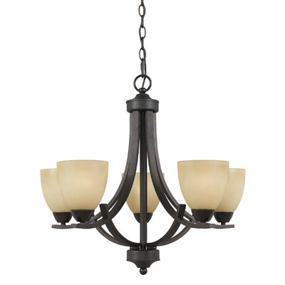 Finn 5-Light Shaded Chandelier Finish: Bronze, Shade Color: Tea Stained