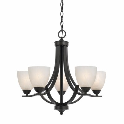 Klamath 5-Light Shaded Chandelier Finish: Bronze, Shade Color: White Swirl Alabaster