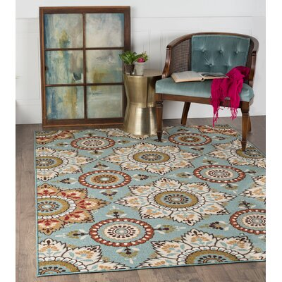 Dolan Blue/Brown Area Rug Rug Size: Rectangle 76 x 910