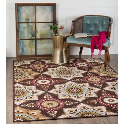 Dolan Brown/Beige Area Rug Rug Size: Rectangle 67 x 96