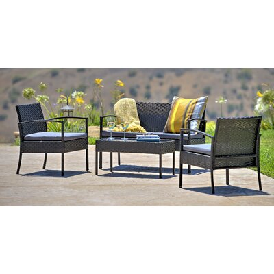 Fayette 4 Piece Wicker Seating Group with Cushion Color: Dark Grey