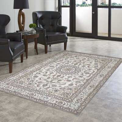 Astoria Nain White/Brown Area Rug Rug Size: 18 x 26