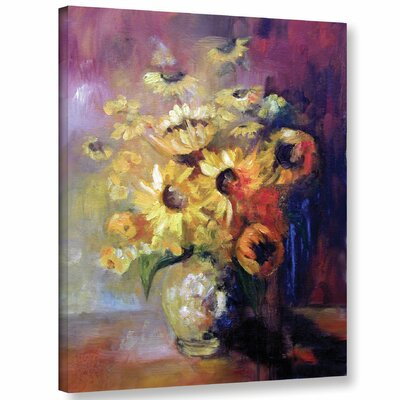 Sunflowers in Vase Painting Print on Wrapped Canvas