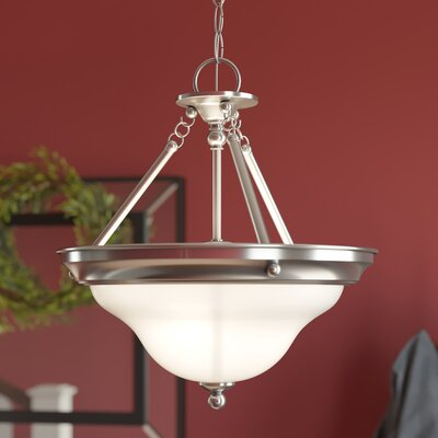 Darmstadt 1-Light Glass Shade Inverted Pendant Finish: Brushed Nickel