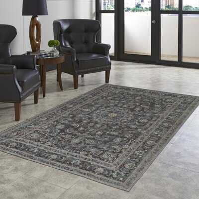 Astoria Nain Black/Blue Area Rug Rug Size: 4'8