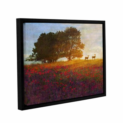 Tree Poppies Deer 2 Framed Painting Print on Wrapped Canvas