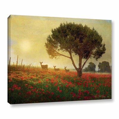 Tree Poppies Deer Painting Print on Wrapped Canvas