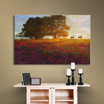 Tree Poppies Deer 2 Painting Print on Wrapped Canvas