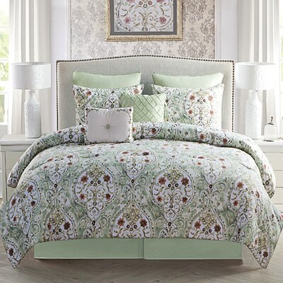 Napoleon 8 Piece Comforter Set Color: Sage, Size: King
