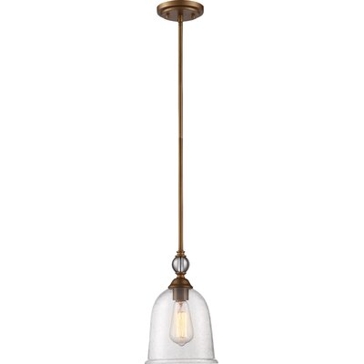 Marion 1-Light Mini Pendant Finish: Vintage Brass, Size: 7.69 H x 7.50 W x 7.50 D