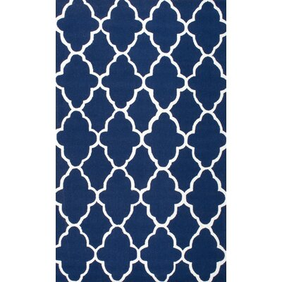 Medora Alana Hand-Hooked Royal Blue/White Area Rug Rug Size: Rectangle 36 x 56