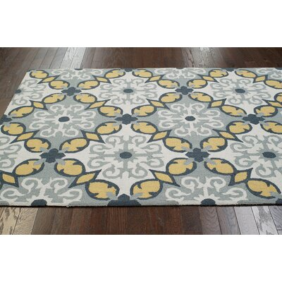Medora Hand-Hooked Yellow/Gray Area Rug Rug Size: Rectangle 36 x 56