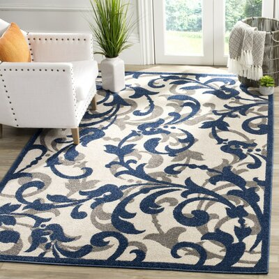 Ranger Ivory/Navy Indoor/Outdoor Area Rug Rug Size: 5 x 8