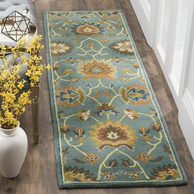 Cranmore Hand-Tufted Light Blue/Yellow Area Rug Rug Size: Runner 23 x 8