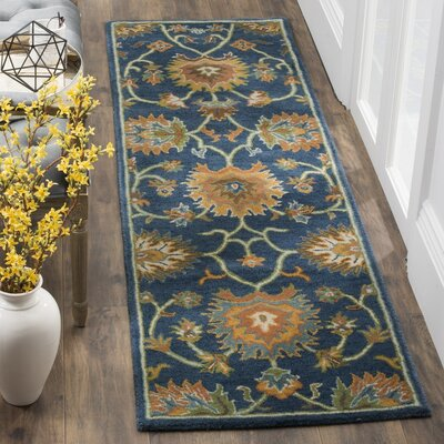Cranmore Hand-Tufted Brown/Blue Area Rug Rug Size: Runner 23 x 8