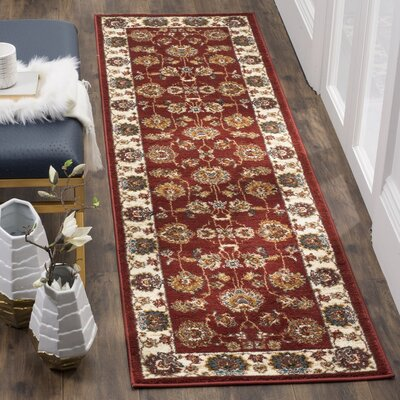 Lowe Red/Beige Area Rug Rug Size: Runner 23 x 8