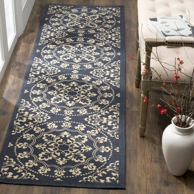 Charing Cross Hand-Loomed Navy / Natural Area Rug Rug Size: Runner 23 x 8