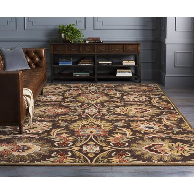 Camden Chocolate Tufted Wool Area Rug Rug Size: Round 8