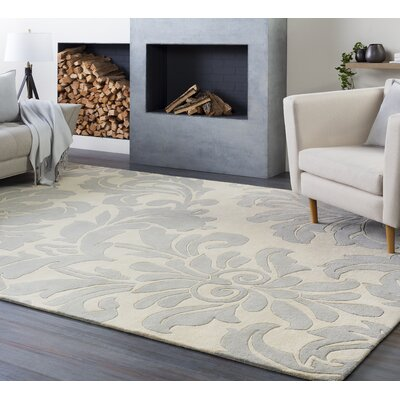 Millwood Hand-Tufted Cream/Gray Area Rug Rug size: Oval 6 x 9