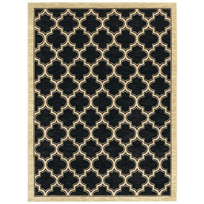 Mishawaka Geometric Black Area Rug Rug Size: Rectangle 33 x 53