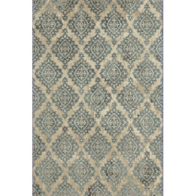 Morocco Ivory/Blue Area Rug Rug Size: Rectangle 53 x 77