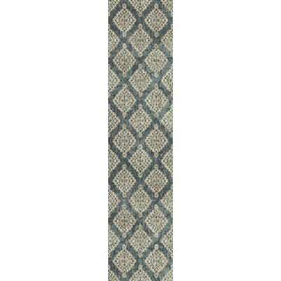 Morocco Blue/Ivory Area Rug Rug Size: Rectangle 2 x 37