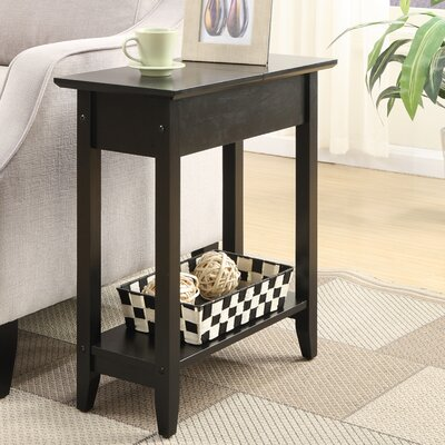 Lucile Flip Top End Table Color: Black