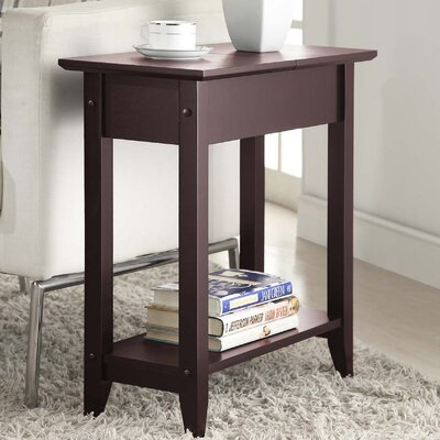 Lucile Flip Top End Table Color: Espresso