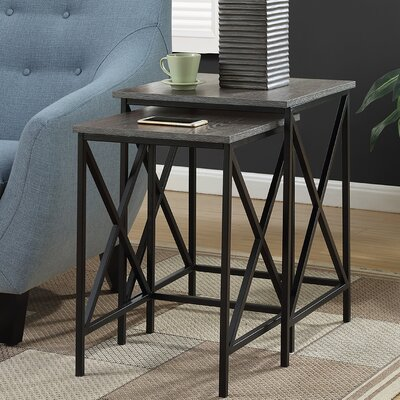 Monticello 2 Piece Nesting Tables Finish: Weathered Gray