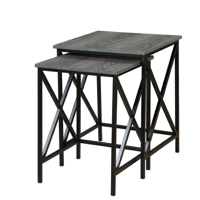 Abbottsmoor 2 Piece Nesting Tables Color: Weathered Gray