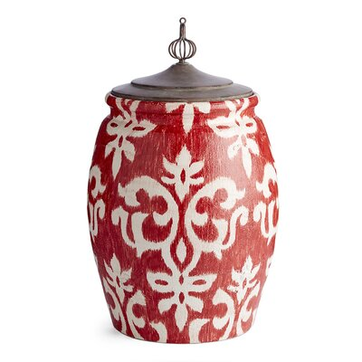 Sitka Red/White Ceramic Ikat Decorative Urn