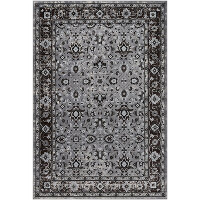 Baughn Medium Gray/Dark Brown Area Rug Rug Size: 2' x 3'