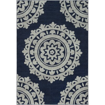 Bickerstaff Dark Blue/Silver Gray Area Rug Rug Size: 53 x 76