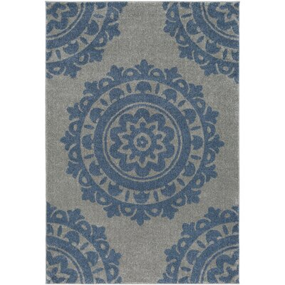 Bickerstaff Bright Blue/Medium Gray Area Rug Rug Size: Rectangle 2 x 33