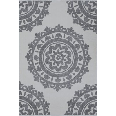 Bickerstaff Medium Gray/Cream Area Rug Rug Size: Rectangle 2 x 33