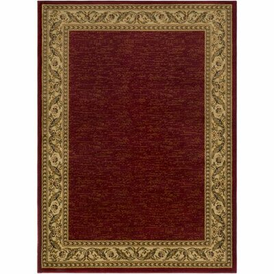 Marvin Dark Red/Khaki Area Rug Rug Size: 93 x 126