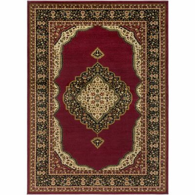 Marvin Dark Red/Black Area Rug Rug Size: 53 x 73