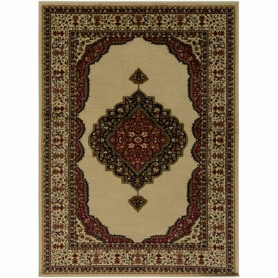 Marvin Dark Red/Khaki Area Rug Rug Size: 2 x 3