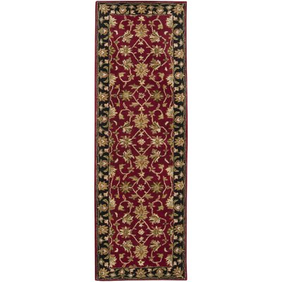 Markeley Hand-Tufted Burgundy Area Rug Rug Size: Runner 3 x 12