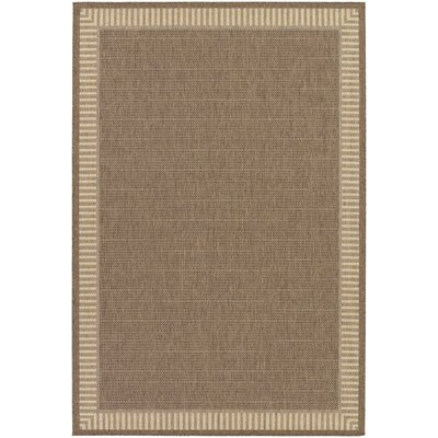 Westlund Wicker Stitch Cocoa/Natural Indoor/Outdoor Area Rug Rug Size: 53 x 76