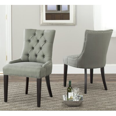 Reynesford Velvet Side Chair (Set of 2) Upholstery: Caylee Grey Fabric
