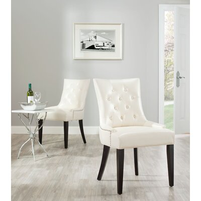 Reynesford Velvet Side Chair (Set of 2) Upholstery: Cream Leather