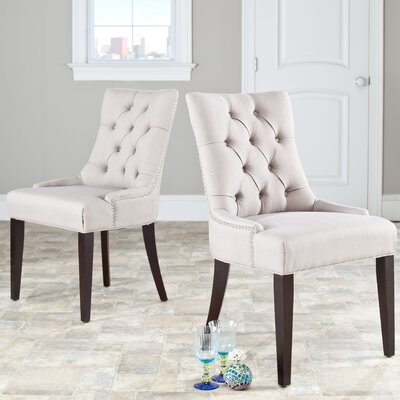 Reynesford Velvet Side Chair (Set of 2) Upholstery: Taupe Fabric