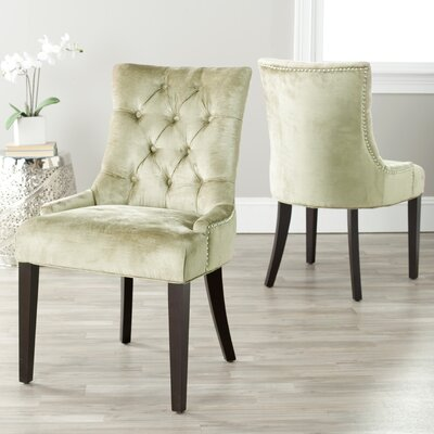 Reynesford Velvet Side Chair (Set of 2) Upholstery: Bronze Velvet
