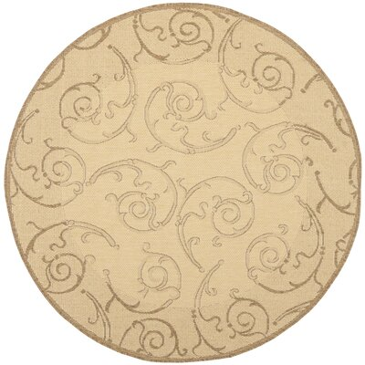 Alberty Natural & Brown Indoor/Outdoor Area Rug Rug Size: Round 710